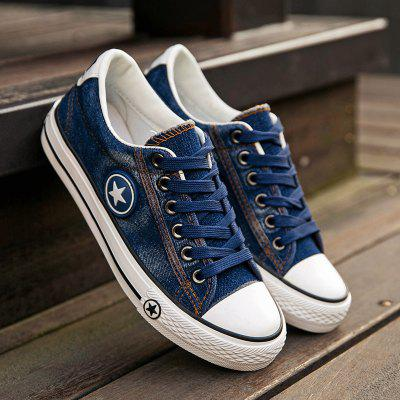 Student Casual Washed Denim Canvas Shoes Women Shoes