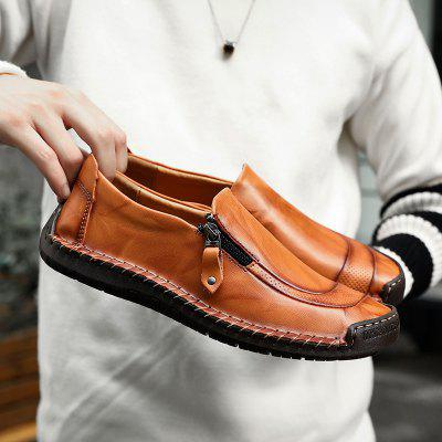 Peas Shoes Men Autumn Leather British Fashion Casual Korean Mens Large Size