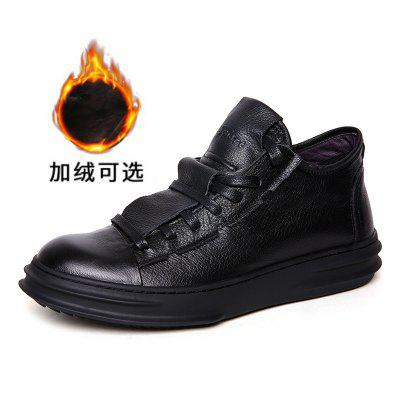 The Bulk Of Fall And Winter Shoes Plus Velvet Mens Casual British Fashion Leather First Layer Men