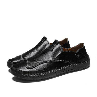 Men Leather Shoes Flat Large Size British Style Casual Driving for Autumn