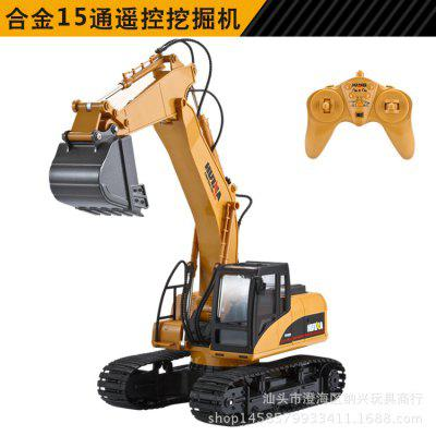 15 Channel Remote Control Excavator Alloy Version 2.4G Wireless RC Car Truck Children Toys