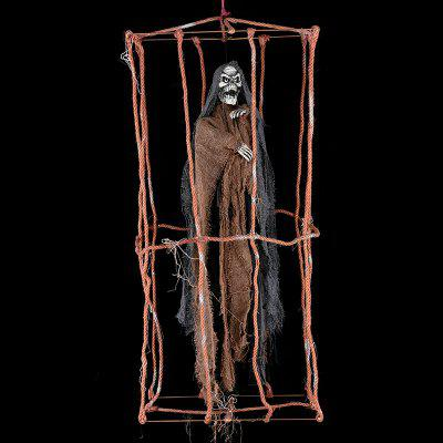 Halloween Decoration Hanging Rope Cage Ghost Haunted House Props Luminous Pendant Supplies