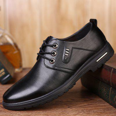 Spring and Summer Breathable Men's Lace-up Business Shoes Round Toe Soft Surface Casual Shoes