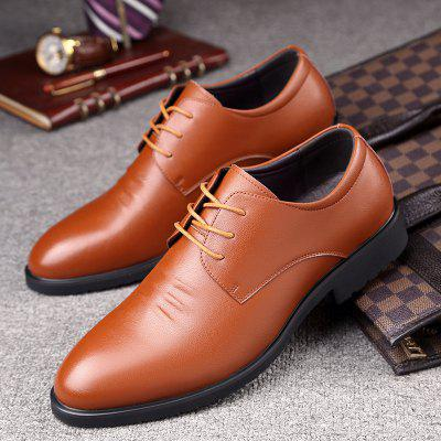Spring Low To Help Mens Leather Lace Shoes Pointed Business British Style Young Men