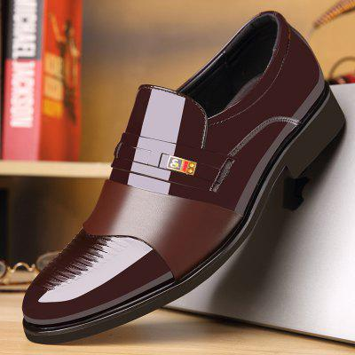 Men Pointed Bright Leather Business Dress Shoes Wedding