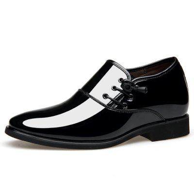 Men Business Casual Shoes Pointed Leather Bright Lace Up Fashionable