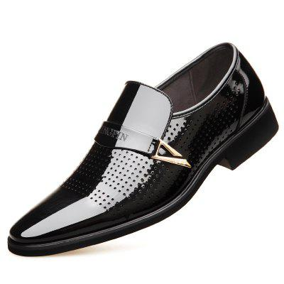 Business Leather Dress Shoes Bright Skin Men Pointed for Spring