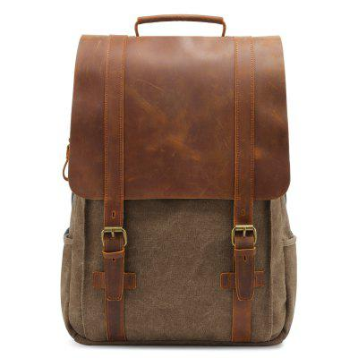 Canvas Backpack Retro Crazy Horse Leather Casual Computer Bag