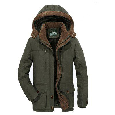 Winter Warm Cotton Coat Mens Hooded Jacket