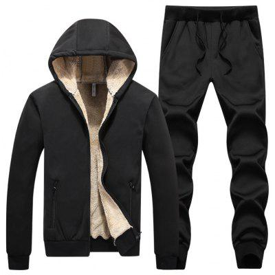 Winter Male Taxi Thick Velvet Hooded Cashmere Cardigan To Keep Warm Two-piece Suit And Sweater