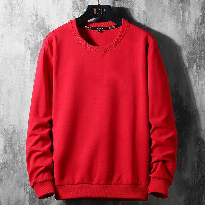 Mens Casual Sports Clothes Loose Large Size Sweater Solid Color T-shirt