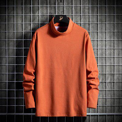 Mens Autumn And Winter Long-sleeved T-shirt Solid Color Double-sided Angora Warm Korean High-necked Shirt
