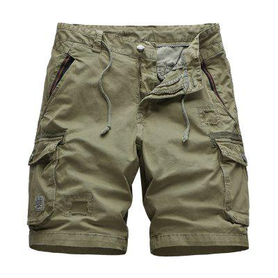 Cargo Shorts Men Five Pants Washed Cotton Multi-pocket