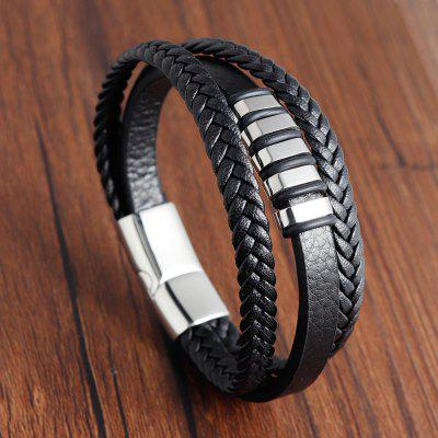Leaf Corrugated Bracelet Mens Stainless Steel Leather Woven Multi-layer Jewelry