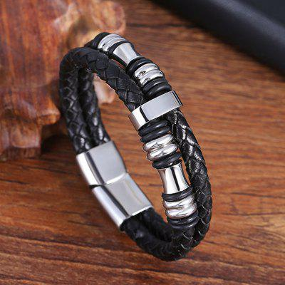 Leather Rope Mens Double Stainless Steel Braided Bracelet Preparation Multi-layer Jewelry L19149
