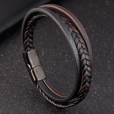 Simple Creative Titanium Steel Mens Leather Bracelet Double Student Hand Decoration