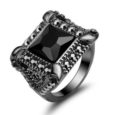 Mens Black Agate Insert Fashion Personality Ring