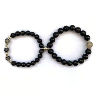 Constantistic Gravity Couple Bracelet A Pair Of Natural Obsidian Crystals Iron Stone Beads