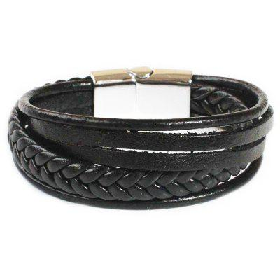 Jewelry Couple Bracelet Accessories Mens Leather Rope Stainless Steel Magnet Buckle