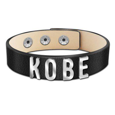 Punk Men Leather Bracelet Accessories Letter Stitching