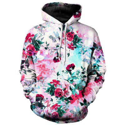 Mens 3D Digital Flower Print Hooded Sweater Men And Women Loose Baseball Clothing Shirt Jacket
