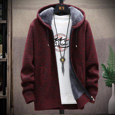 2020 Autumn And Winter Plus Velvet Thickening Large Size Sweater Coat Hooded Cardigrahon Zipper Wool Jacket Male