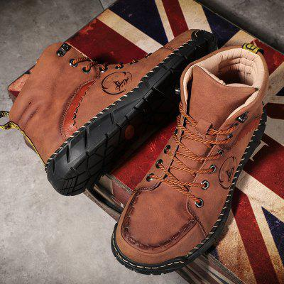 Mens Casual Boots Shoes Autumn and Winter Fashion Leather Tooling Warm