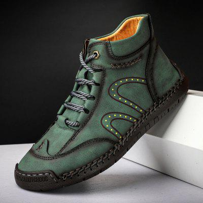 Mens Casual Leather Shoes Fashion Handmade Lace-up