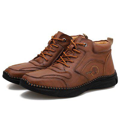 Mens Casual Leather Shoes Non-slip High-top Platform Boots