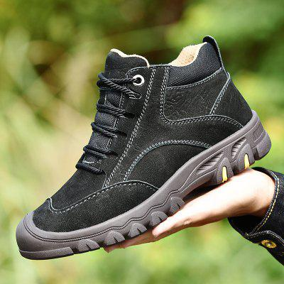 Mens Thick-soled Casual Shoes Plus Velvet Leather Snow Boots