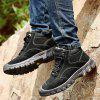 Men's Thick-soled Casual Shoes Plus Velvet Leather Snow Boots - BROWN