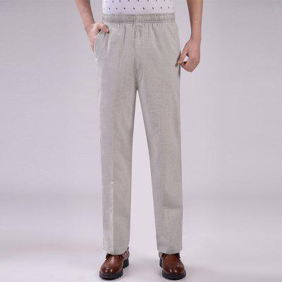 Summer Thin Elastic Linen High Waist Loose Cotton and Mens Trousers Large Size Pants