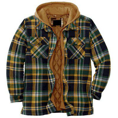 Mens Thickening Cotton Coat Long Sleeve Loose Hooded Jacket