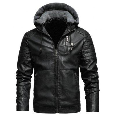 Mens PU Leather Jacket Plush Hooded Coat