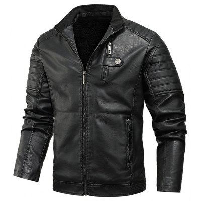 Mens Casual Leather Jackets Plush Thick Coat