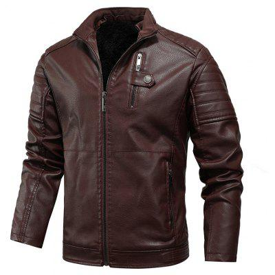 Autumn and Winter Leather Jackets for Young Plus Velvet Thick Men
