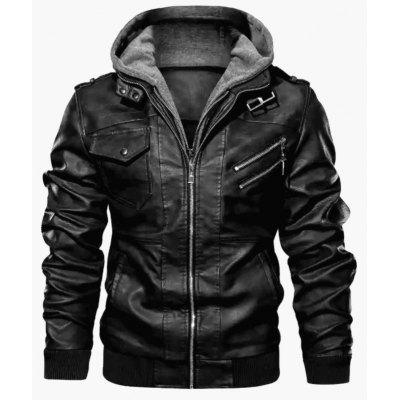 Mens Hooded Leather Jacket Thick Plush Coat