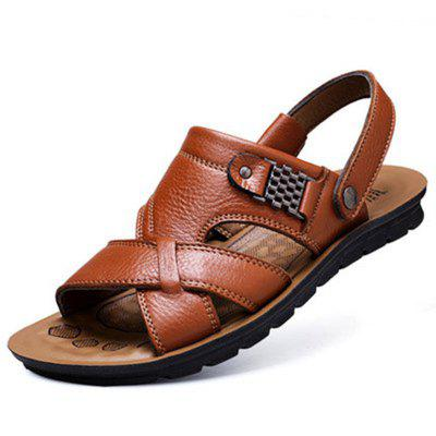 Mens Sandals Large Size Leather Beach Shoes Sandal Slippers