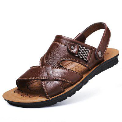 Mens Causal Sandals Mircofiber Leather Beach Shoes Sandal Slippers