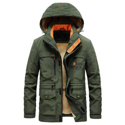 Mens Plush Jacket Coat Detachable Hooded Cotton Casual Thickened