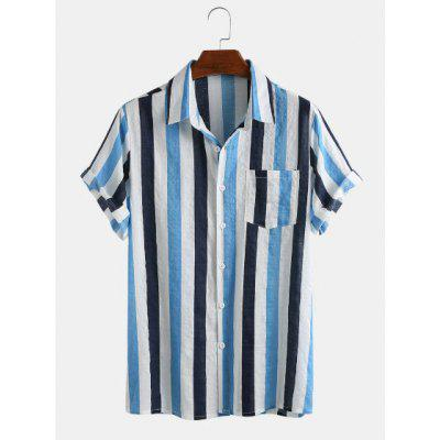 Mens Short-sleeved Shirt Thin and Breathable Cotton Striped Holiday