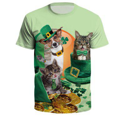 Irish Festival Shawu Topic 3D Digital Print Large Size Short Sleeve T-Shirt