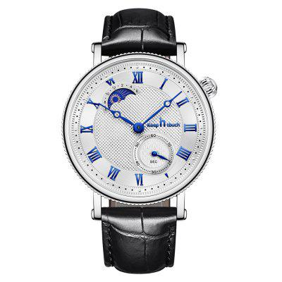 KEEP IN TOUCH Mens Quartz Watch Leather Strap Moon Phase Wristwatch
