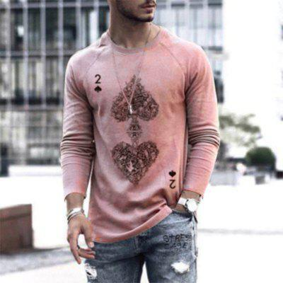 Personalized Two of Spades Print Long Sleeves Loose Mens T-shirt