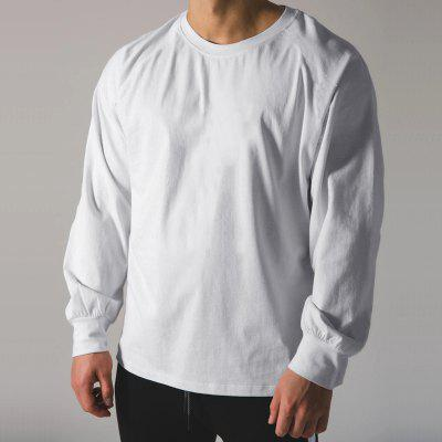 Mens Long-sleeved Sports Shirt Spring and Autumn Bottoming Fitness Casual Round Neck Loose