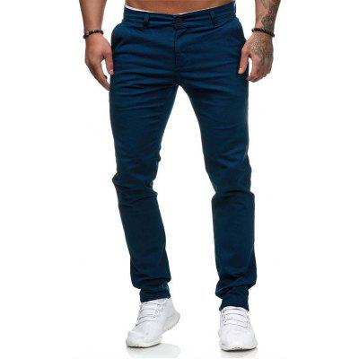 Casual Trousers Mens European and American Style Slim Solid Color Pants