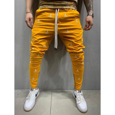 Hip Hop Fashion Embroidered Casual Trousers Slim Sports Zipper Pants
