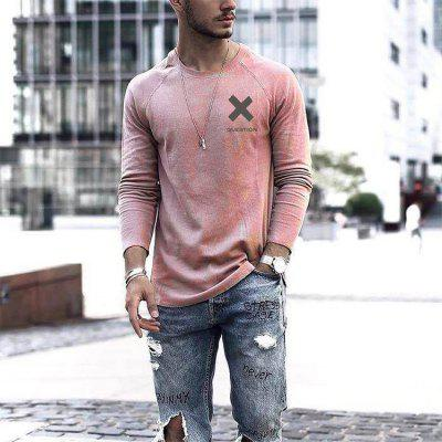 Mens T Shirts Autumn Collarless Long Sleeve Pullover Casual T-shirt