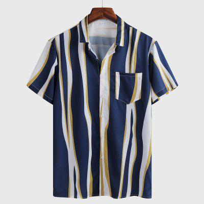 Mens Short-sleeved Striped Printed Shirt