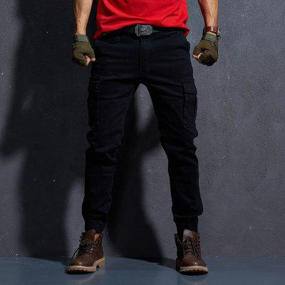 Mens Casual Pants Winter Tooling Teen Slim-fitting Trousers